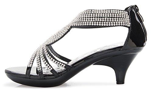 ae047e2ef OLIVIA K Women's Open Toe Strappy Rhinestone Dress Sandal Low Heel Wedding  Shoes