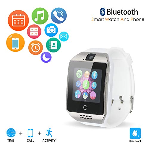 Bluetooth Smart Watch Phone VINCIGEEK Smart Watch Mobile Phone Unlocked Universal GSM Bluetooth 4.0 NFC Music Player Camera Calendar Stopwatch Sync for Android iPhone Google Huawei Smartphones(White)
