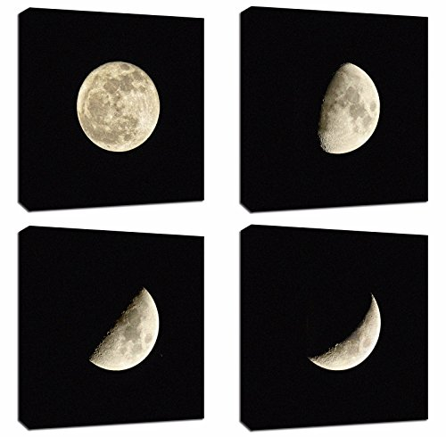 4Pcs 12x12 Canvas Wood Stretched Moon Eclipse Process Space Theme Frame Landscape Abstract Modern Art for Home Room Office Wall Print Decor 12x12