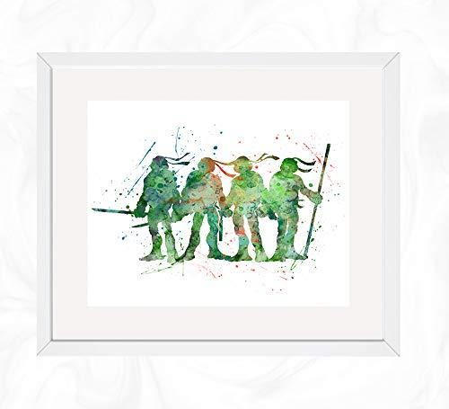 (Team Ninja Turtles Prints, Teenage Mutant Ninja Turtles Watercolor, Nursery Wall Poster, Holiday Gift, Kids and Children Artworks, Digital Illustration)
