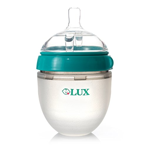 Baby Breastfeeding Nature Bottle by LUX - Slow Flow Newborn Feeding Bottle - BPA-Free Anti-Bacterial Silicone - No Leak & No Waste Smart Design - Easy Transition - 5oz Slow Flow Nipple (Turquoise)