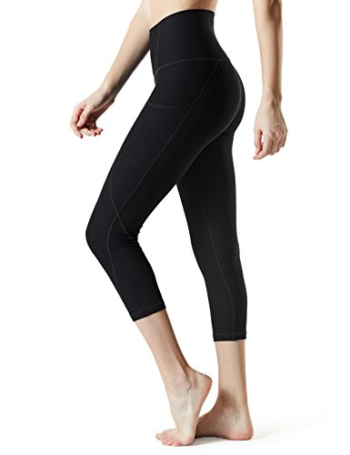 (TSLA Yoga Pants 21 inches Capri High-Waist Tummy Control w Pocket, Pocket Thick Contour(fyc34) - Black, Large (Size 10-12_Hip41-43 Inch) )