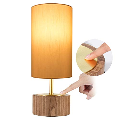 DEEPLITE Table Lamp Touch Control, Bedside Nightstand Lamp Modern Accent Desk Lamp Touch Sensitive Ambient Night Light for Bedroom, Living Room, Office, Cylinder Lamp Shade Wood Base
