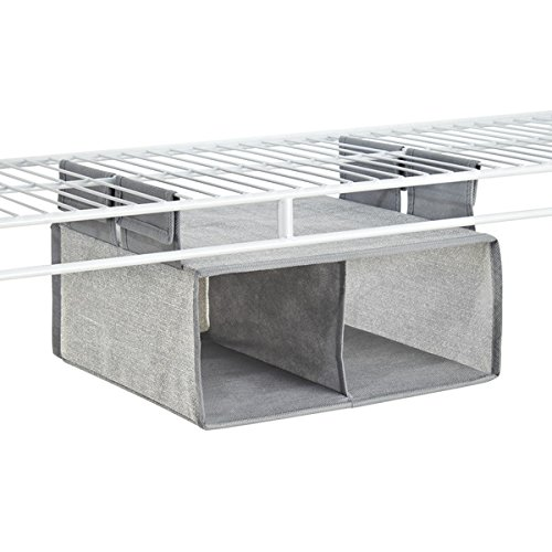 mDesign Fabric Hanging Closet Storage Organizer, Shelf for Wire Shelving - 2 Compartments, Gray