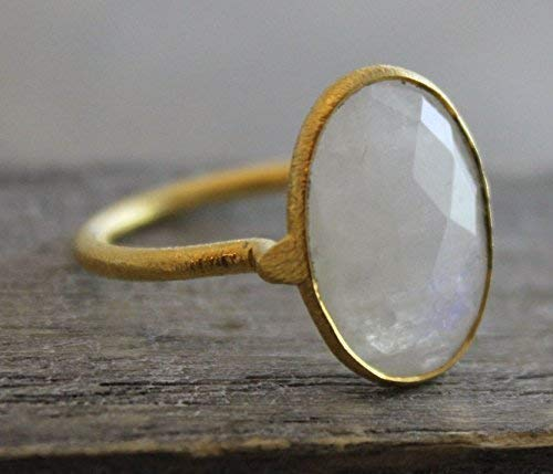 Oval Rainbow Moonstone Gemstone Gold Plated Sterling Silver Statement Ring, size 8