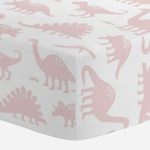 Carousel Designs Pale Pink Dinosaurs Crib Sheet - Organic 100% Cotton Fitted Crib Sheet - Made in The USA by Carousel Designs