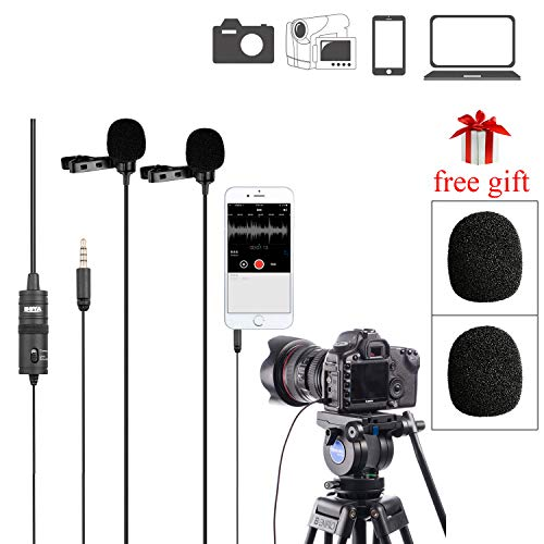 BOYA BY-M1DM Dual Lavalier Microphones, Omnidirectional Condenser Hands Free Clip-on Lapel Mic with a 1/8