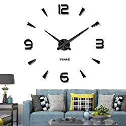 Vangold Decorative DIY Wall Clock, 2-Year Warranty Frameless Wall Clock with 3D Mirror Large Number for Living Room/Bedroom/Home Wall Decorations