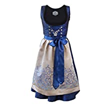 Bavarian Women's Midi Dirndl dress 3-pieces+ apron+blouse royalblue gold