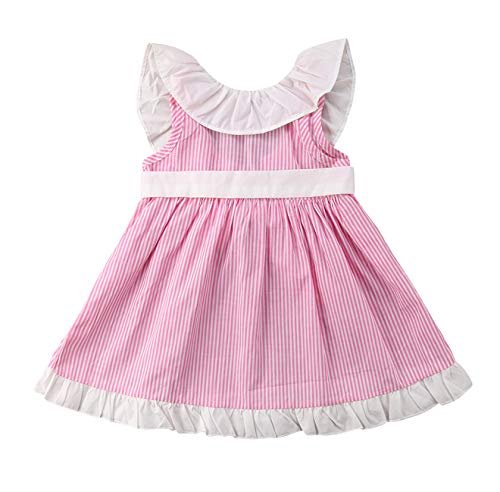 Urkutoba 0-4T Baby Girl Full Stripe Princess Dress Ruffle Collar Sleeveless Puff Sleeve Tutu Dress Tassel Dress with Cute Waistband (Pink, 6-12 Months)