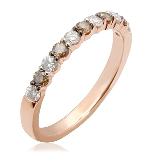 Brand New 0.54 Carat Natural Brown & White Diamond Wedding Band, 14k Rose Gold, Size 9.5 by Prism Jewel