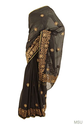 Mysore Saree Udyog Women's Formal Wear Color Silk Thread Work Saree with Blouse Black