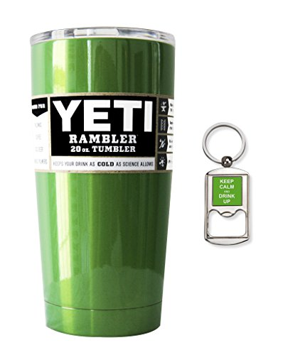 YETI Coolers Custom Powder Coated Insulated Stainless Steel 20 Ounce (20 oz) (20oz) Rambler Tumbler with Lid and Bottle Opener Keychain (Sour Apple Green)