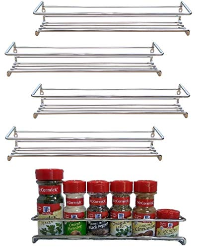 (Premium Presents 5 Pack. Wall Mount Spice Rack Organizer for Cabinet. Spice Shelf. Seasoning Organizer. Pantry Door Organizer. Spice Storage. 12 x 2 x 3 inches Brand)