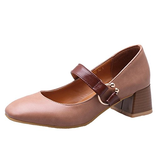 Heel Chic Jane Shoes Sweet Toe Block Square Mary Pink Nude Women's Mid Carolbar qwfSH1Of