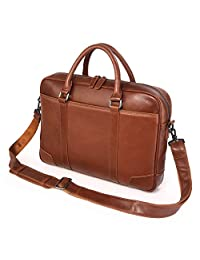 """Texbo Genuine Top Cow Leather Business Briefcase Fit 15.6"""" Laptop Bag Tote (Brown)"""