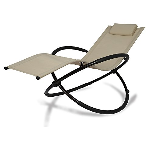 Patio Tree Orbital Zero Gravity Patio Chaise Lounge Rocking Lounger, Outdoor Lounge Chair (1, Beige)