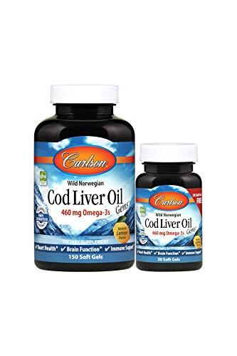 Carlson - Cod Liver Oil, 460 mg Omega-3s, Norwegian, Sustainably Sourced, Lemon, 150+30 Soft gels Carlson Norwegian Cod Liver Oil