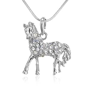 PammyJ Silvertone Clear Crystal Horse Charm Pendant Necklace, 17""