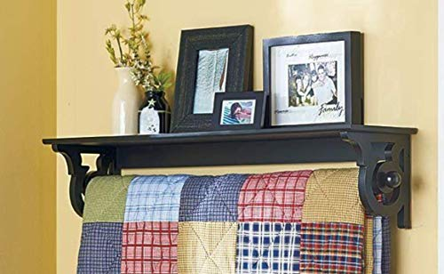 Moon_Daughter Deluxe Quilt Blanket Holder Wall Storage Rack with Shelf Scrolled Crolled Black Color Entryway