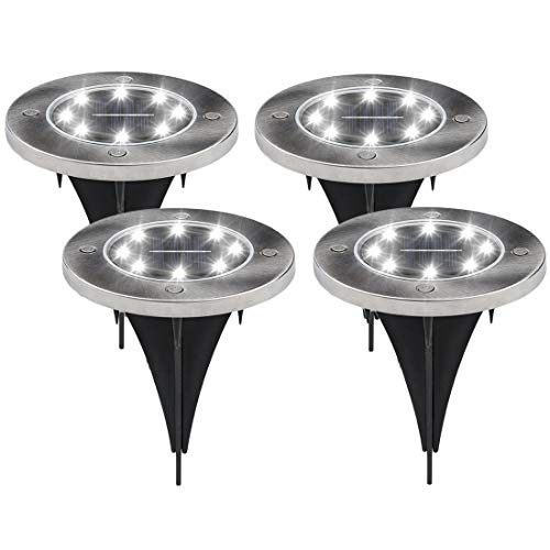 Solar Ground Lights 8 LED Pathway Lights Outdoor Waterproof for Yard Lawn Driveway Landscape Lighting(4 Pack, White)