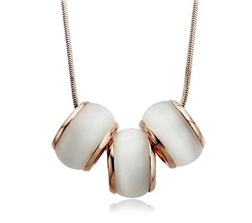 Wo-dreams Women's Gold Plated Three Opal Barrel Pendant Necklace,33