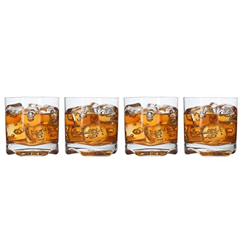 Lily's Home Unbreakable Whisky Scotch Tumbler Glasses, Premium Glasses are Made of Shatterproof Tritan Plastic, Ideal for Indoor and Outdoor Use, Reusable (10 oz. Each, Set of 4)