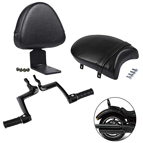 Moto Seat - XMT-MOTO Rear Footpeg Mount+Passenger Seat+Backrest for Victory Vegas, Kingpin, Boardwalk, High ball, Gunner,Black