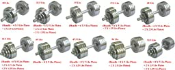 One Pair of Adjustable Dumbbells Chrome Plated Metal Total 105 Lbs (2 X 52.5 Lbs)