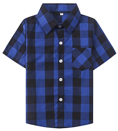 SANGTREE Boys Short Sleeves Plaid Shirt, Button Down Dress Shirt for Toddlers, Little & Big Boys, Royal Blue, Tag 120 for Age 4-5 Years