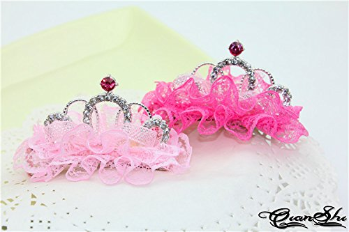 (Generic Children lace fan-shaped diamond alloy sandwiched three-dimensional small crown tiara princess baby hairpin headdress baby child models)