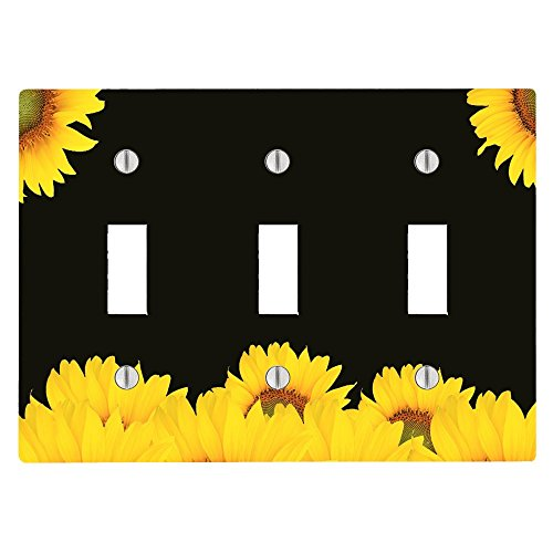 Sunflower Toggle - Sunflower Sunflowers Spring Summer Black Background 3 Toggle Electrical Switch Wall Plate (6.56 x 4.69in)