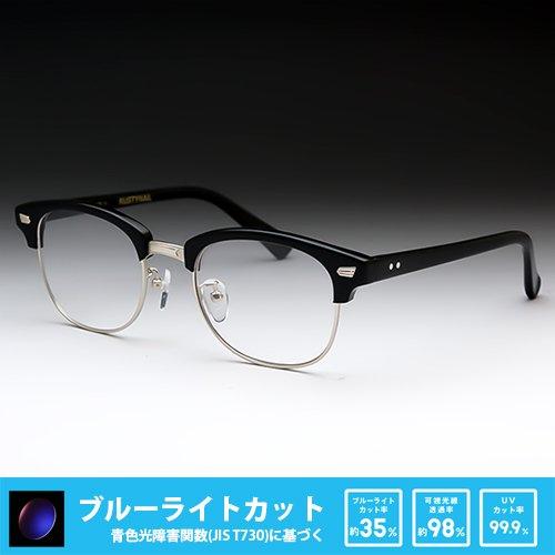 鯖江ワークス(SABAE WORKS) PCメガネ 度なし サーモント ケース付き RN1035 (ブルーライトカット, C1 ブラック) ブルーライトカット C1 ブラック B0747HQD7F