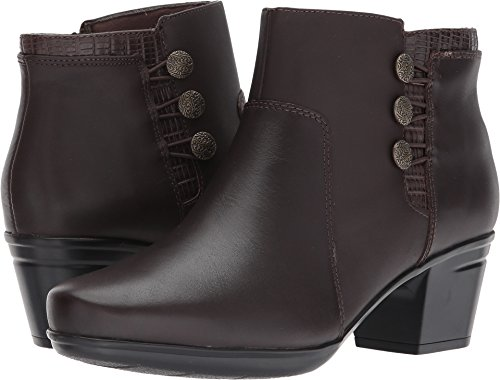 Leather Plain Brown - CLARKS Women's Emslie Monet Ankle Bootie, Dark Brown Leather, 5.5 M US