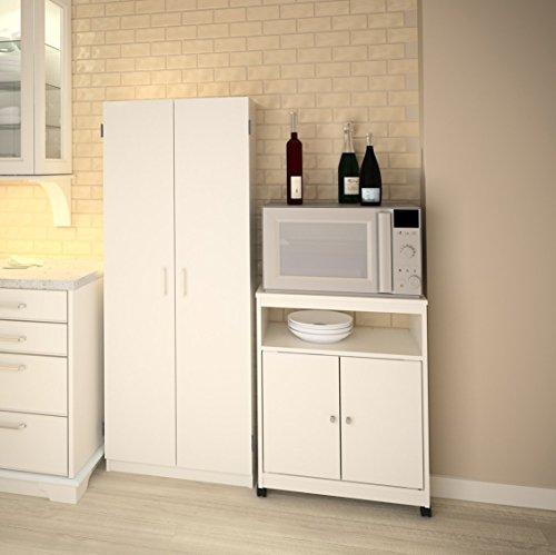 Ameriwood Landry Kitchen Microwave Cart, White