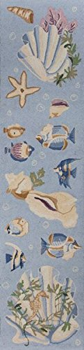 Colonial Runner 8 Runner - KAS Oriental Rugs Colonial Collection Ocean Life Runner, 2' x 8', Light Blue