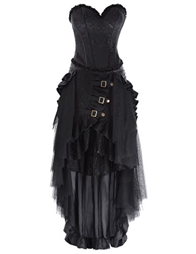 Ladie's Gothic Steampunk Clothing Skirt Lace Up Retro Victorian Punk Cincher Vintage Long Ruffle Skirt 4