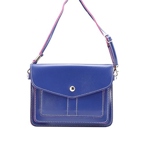 6.3 Inch PU Leather 2 Layers Horizontal Cellphone Pouch Bag with 180cm Ajustable Shoulder Strap for Women Blue