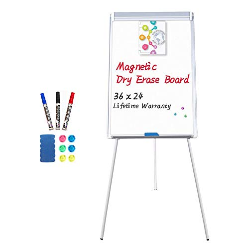 (Easel White Board - Magnetic Tripod Whiteboard Portable Dry Erase Board 36x24 inches Flipchart Easel Board Height Adjustable, Stand White Board)