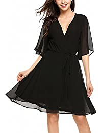 Women Chiffon Summer Dress Crossover V-Neck Bell Sleeve Solid Elastic Fit and Flare Belt