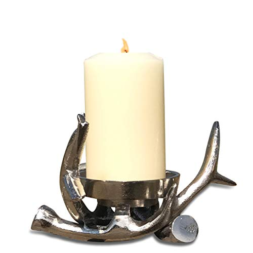 Bond Street Silver Deer Antler Pillar or Votive Candle Holder, Brilliant Silver, Horn Details, Hand Cast Aluminum Nickle, 6 3/4 Inches Diameter, Mountain House Collection