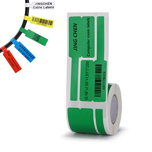 """JINGCHEN Thermal Cable Label Paper, Widely Used in Communication/Power/Computer-room/ Accessories/Cable Label Printing, 0.98""""x 1.50""""+1.57"""", 200 Labels/Roll,Green"""