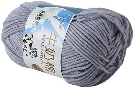 Weshcun Ovillo de lana de algod/ón para tejer con fibra de leche lana tejida a mano para sof/á arco/íris varios colores tejido c/álido bufanda 50 g Blue white coj/ín