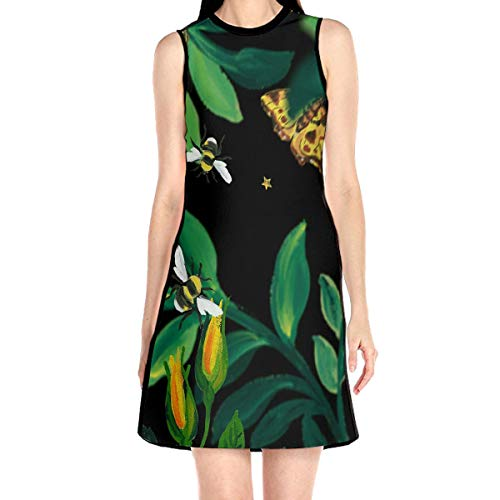 Laur Women¡¯s Sleeveless Scuba Sheath Dress Foliage Colorful Bee Print Casual/Party/Wedding Dress L White