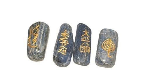 Blue Kyanite Tumbled Usui Sets Reiki Healing Chakra Balancing Meditation Gemstone Spiritual Energized Positive Mental Peace Prosperity Growth Bonding Relationship by Jet International