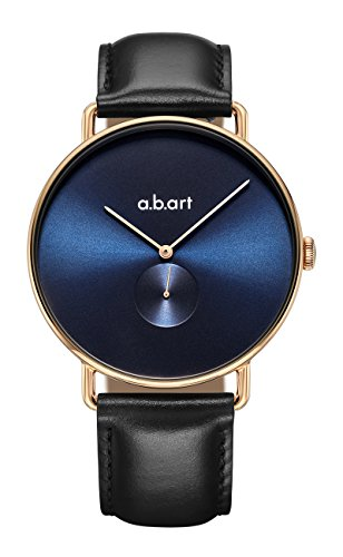 Mens Analog Blue Dial - a.b.Art FA41-012-lL Analog Blue Dial Black Leather Strap Mens Dress Watch
