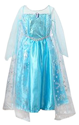 Frozen Costume S (Santana Fashion Girls Snow Queen Costume Snow Princess Dresses - F2-Elsa (US-5/6, Elsa))
