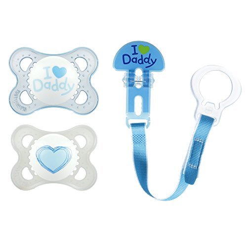 MAM Pacifiers and Baby Pacifier Clip, Baby Pacifier 0-6 Months and Baby Pacifier Clip, Best Pacifier for Breastfed Babies, I Love Daddy' Design Collection, Boy, 3-Count