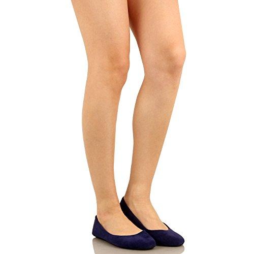 Westbalv Frauen Casual Ballett Flat Blaues Wildleder