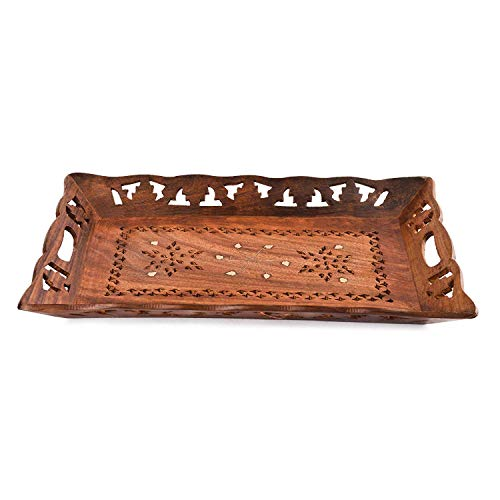Rusticity Indian Rosewood Antique Designer Butler Serving Tray for Hot & Cold Drinks/Vintage Rustic Decorative Handmade Sheesham Food Platter for Dining Tableware & Kitchen Accessory (15 x 10)